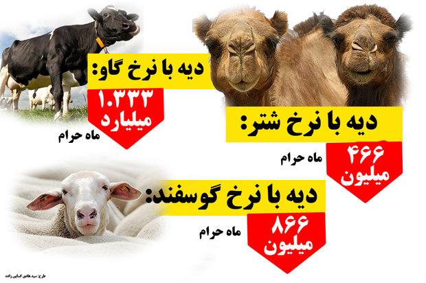 قیمت دیه با شترو گاو و گوسفند